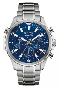 Bulova Marine Star 96B256 Chrono With Blue Dial. This Watch Is Inspired By The Ocean.