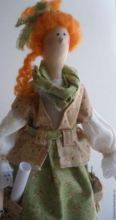 Купить кукла тильда Художница Аделаида - зеленый, кукла ручной работы, кукла, кукла в подарок ♡