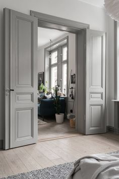 14 Unique Wooden Door Design Ideas - Lori Home Home Door Design, Wooden Door Design, Wooden Doors, House Design, Wooden Door Paint, Floor Design, Grey Interior Doors, Painted Interior Doors, Interior Trim