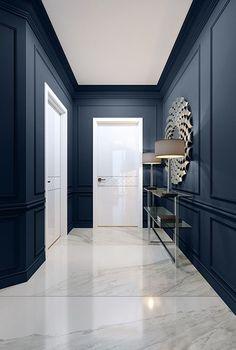 Navy Paint Colors, Bedroom Paint Colors, Interior Wall Colors, Office Interior Design, Interior Paint, Flur Design, Trending Paint Colors, Navy Walls, Hallway Designs