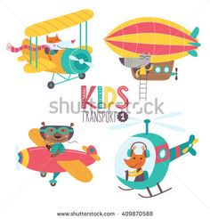 Kids transport collection with cute animals. Part 1. Vector illustration on a white background. Airplane, airship, plane, helicopter.