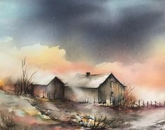 Bilder til salgs Watercolor Sky, Watercolor Pictures, Watercolor Artwork, Watercolor Artists, Watercolor Design, Watercolor Techniques, Watercolor Landscape, Landscape Paintings, Abstract Landscape