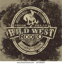 Wild west rodeo, vintage vector artwork for boy wear, grunge effect in separate layers - stock vector