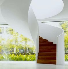 Fabulous staircase seems to rise between views of #garden. #intdesign #outdoor