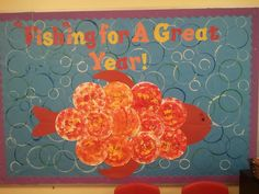 This is my Back to school bulletin board. All of my students sponger painted a paper plate. I did the bubble with a lid of of a tea pitcher and small cups