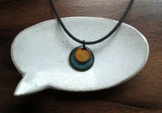 Orange and Blue Necklace  Handmade Copper Enamel by Steinvika, $25.00