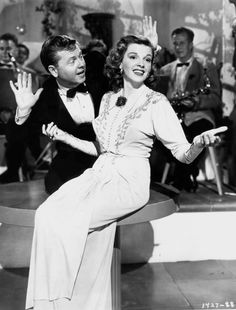 """Judy Garland and Mickey Rooney prerecord the song """"I Wish I Were in Love Again"""" for Words and Music, 1948. Ostensibly a biography of songwriters Richard Rodgers and Lorenz Hart, the film became more of a showcase for MGM talent than a faithful account of the two acclaimed songwriters."""