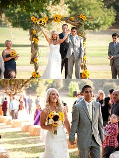sunflower archway.... ohhh my. Wedding at Bates Nut Farm in Valley Center, CA