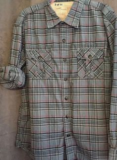 Timberland Earthkeepers XL Mens Shirt Button Down Blue Cotton Plaid Top
