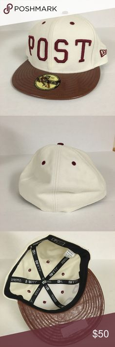 NEW The Hundreds fitted POST cap NO TRADES!   NEW The Hundreds Post cream and maroon lettering cap with brown faux leather bill. Store Exclusive, limited quantities and rare find in this color way.   Size 7 1/2.   Price FIRM as this is special edition. Selling on eBay for $89. Smoke/pet free home, all sales final. I have zero control of shipping once in the hands of USPS The Hundreds Accessories Hats