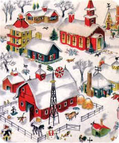 Vintage Ornaments Ideas – Page 9917871212 – Vintage and antique items Christmas Town, Old Fashioned Christmas, Christmas Scenes, Retro Christmas, Christmas Greetings, Winter Christmas, Christmas Crafts, Christmas Decorations, Vintage Christmas Images