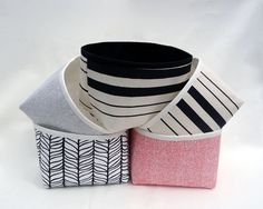 Small storage basket / Fabric basket / Black and white by Apozi