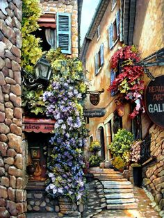 Italian Street Scene by Sung Kim (detail) Pretty Pictures, Art Pictures, Grafic Design, Italian Street, Beautiful Paintings, Belle Photo, Landscape Art, Painting Inspiration, Art And Architecture