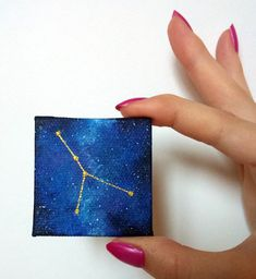 Cancer Zodiac Magnet, Horoscope Cancer Constellation, Constellation Painting, Stars, Milky Way Fridg Small Canvas Paintings, Small Canvas Art, Mini Canvas Art, Mini Paintings, Large Painting, Animal Paintings, Original Paintings, Acrylic Paintings, Acrylic Art