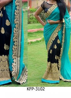 Buy Sky & Navy Blue Georgette Replica Saree