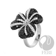 Black Orchid Ring - 925 fine sterling silver micron natural rhodium, set with AAA white and black cubic zirconia. Sterling Silver Jewelry, Silver Rings, Titanic Jewelry, Nail Ring, Black Orchid, Crown Jewels, Jewelry Design, Designer Jewelry, Orchids