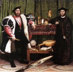 This is a painting from 1533 by Hans Holbein the Younger. The painting shows Jean de Dinteville (who was an ambassador of Francis I of France) and the Bishop of Lavaur, Georges de Selve.      When viewed from a certain angle, the anomaly in the bottom of the painting transforms into a human skull. There are many other symbolic references within this painting - including the crucified Jesus Christ, the various tools, the lute with the broken string and the opened (and closed) books.