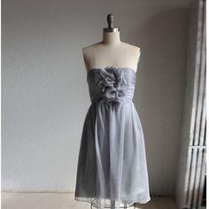 Gray Wedding dress , chiffon party dress, grey bridesmaid dress, strapless formal dress in dark gray  (B007)) on Etsy, $118.00