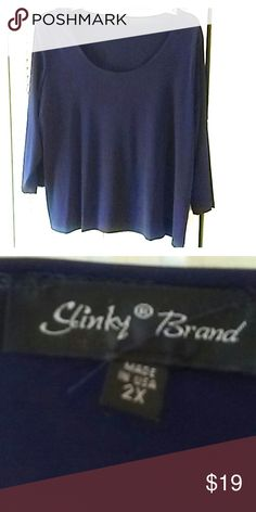 NWOT Slinky Brand navy stretchy top 2X Slinky Brand lovely navy blue top with 3/4 sleeves. Stretchy. 2X Slinky Brand Tops Tunics