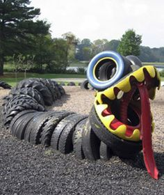 """The possibilities for incorporating old tires into playground structures are almost endless."""
