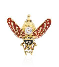 A YELLOW GOLD, ENAMEL AND DIAMOND-SET PENDANT WATCH CIRCA 1890