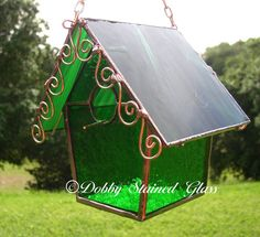 Stained Glass Birdhouse - Green with Copper Swirls