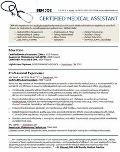 medical assistant sample resume resumes physician dream careers pinterest