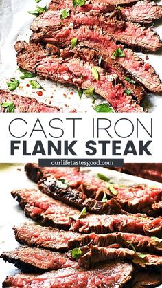 Dinner Recipes Easy Quick, Easy Meals, Cast Iron Flank Steak, Meat Recipes, Cooking Recipes, Mexican Recipes, Holiday Roast Recipe, Beef Dishes, Food Dishes