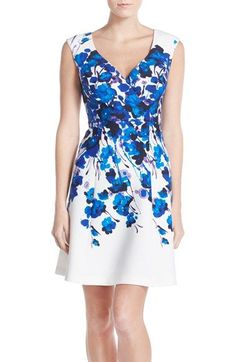 Adrianna Papell Placed Print Stretch Fit & Flare Dress