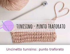 Come fare punto traforato con uncinetto tunisino. Tutorial con spiegazioni in italiano.