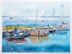 Insel Poel Hafen. Ostsee. Baltic sea. Original handmade aquarelle von abramarin auf Etsy