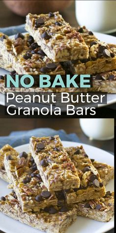 Super easy No Bake Peanut Butter Chocolate Chip Granola Bars! These bars perfect for an easy snack and taste a lot like those delicious no bake cookies! A great kid snack! snacks videos No Bake Peanut Butter Chocolate Chip Granola Bars Granola Bars Peanut Butter, Chocolate Chip Granola Bars, Healthy Granola Bars, Homemade Granola Bars, Breakfast Bars Healthy, Oatmeal Breakfast Bars, Homemade Energy Bars, Baked Oatmeal Bars, Clean Granola Bars