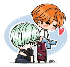 I'm back! TTuTT/ ♥ ♥ ♥I missed out … Go days without drawing was really boring and difficult uu/So let's go back to drawings? *w*Yessss! - Suga e Jimin