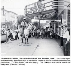 The Lone Ranger promoting his movie @ Braumart Theater in Iron Mountain - 1956 http://dcl-lib.flolinemedia.net/images/files/Genealogy/PhotoIMOSts.pdf … #IronMountain