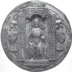 The great seal of John of Gaunt, showing him enthroned as King of Castile, a position he never achieved.