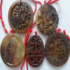 Lot of Five Beautiful Chinese Old Brown Jade Pendants by soyon, $55.00