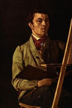 Camille Corot - Self Portrait, Sitting Next To An Easel, 1825