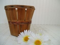 From the Barn to You Vintage Round Wooden Slat Fruit / Apple Picking Basket - Farm Fresh Rustic Primitive Catch All for Storage or Display $29.00 by DivineOrders