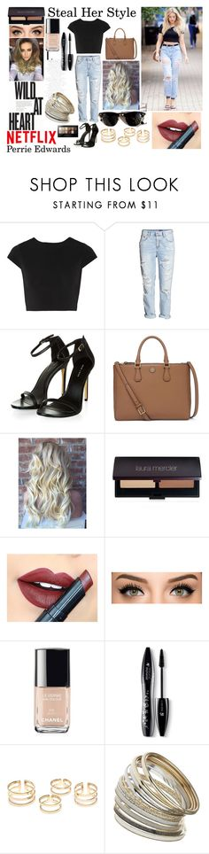 """Steal Perrie's Style #5"" by sukh-deol ❤ liked on Polyvore featuring Alice + Olivia, H&M, Tory Burch, Laura Mercier, Fiebiger, Chanel, Lancôme, Ray-Ban, Miss Selfridge and Maybelline"
