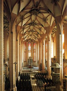 Vaulting being an outstanding feature of Germany's late blooming Gothic.   LATE GOTHIC, Germany - St Anne, Annaberg, Saxony, 1499-1522.