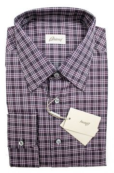 Pair this Brioni purple plaid dress shirt with a charcoal blazer for a chic modern look.     Want in on this? http://www.frieschskys.com/all-shirts/dress-shirts     #frieschskys #mensfashion #fashion #mensstyle #style #moda #menswear #dapper #stylish #MadeInItaly #Italy #couture #highfashion #designer #shopping