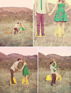 Really lovin this idea....standing and kissing on the chairs...i bet that was fun :)
