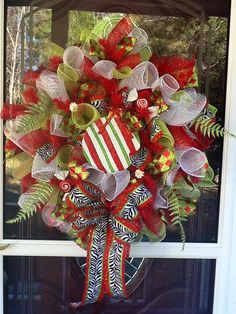 Deco mesh Christmas Wreath by WreathsEtc on Etsy, $125.00
