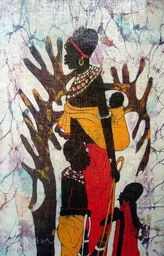 African Art Batik Painting Tribal Family Mom Children -- with Tree
