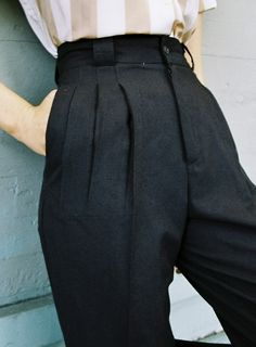 Vintage 1980's Navy Cotton High Waisted Tapered Trousers