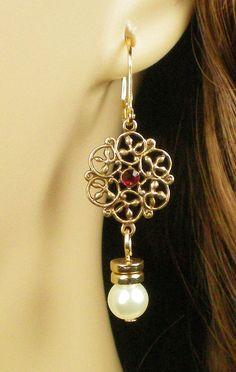 Lucrezia Borgia Ruby Earrings e371/530 by tudorshoppe on Etsy