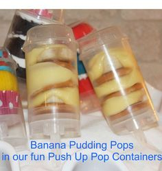We love our Push Pop Containers for mini cupcakes, puddings, ice cream pops and other yummy layered desserts..