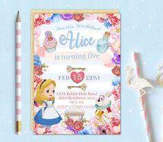 Printable Personalised Alice in Wonderland Birthday Party Invitation Invite Digital Download Girls Baby Kids