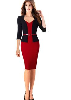 Nice-forever Stylish One-piece Faux Jacket Elegant V-neck Work dress Office Bodycon Female Sleeve Sheath Woman Dress Office Dresses, Dresses For Work, Faux Jacket, Mode Costume, Black Bodycon Dress, Dress Black, One Piece Dress, Pencil Dress, African Fashion