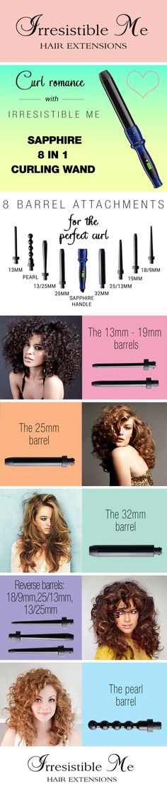 The Sapphire 8 in 1 curling wand features tourmaline technology and eight different interchangeable barrels. It's like having 8 separate hair curlers, but much more affordable and easy to transport and deposit. Features: no frizzy hair, versatility, longevity, fast heating (up to 20 sec), adjustable temperature, cold rubber tips for each barrel, 360° swivel cord, super light, intelligent heat display, auto shut off. Fill in our fun quiz to get options tailored for your style.